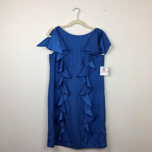 Julie Dillon Blue Ruffle Panels Dress